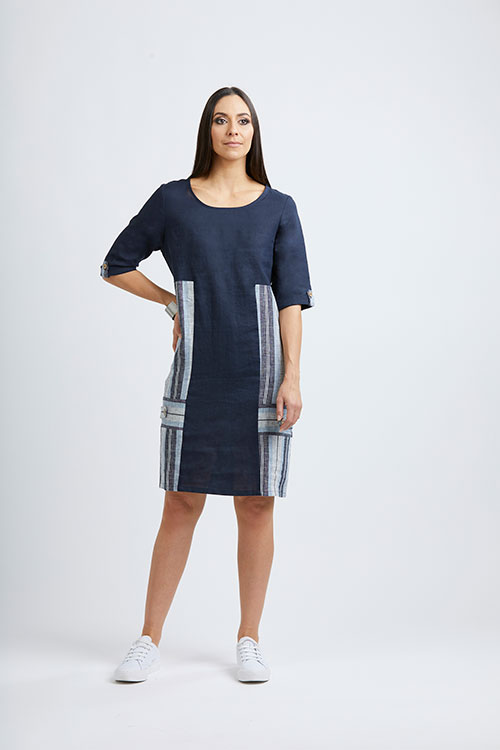 Foils-Label-at-Fetts-Boutique-Wahroonga-Navy-Mix-Dress